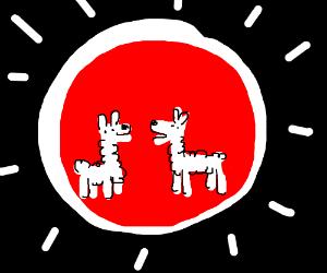 Two llamas inside a red sun w/ white border