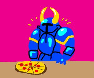 pizza and shovel knight mug