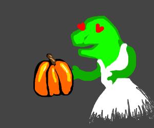 Birdzilla loves pumpkin