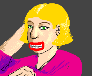 Red eyed woman touching her head and smiling