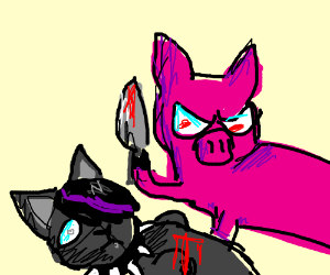 edgy cat killed a pig