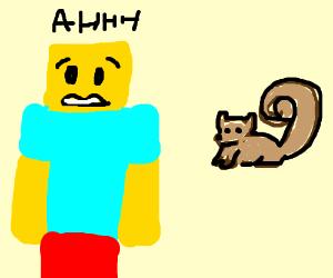 roblox man is very afraid of squirrel