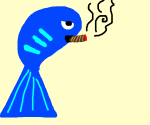a fish smoking