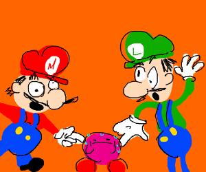 Merio and Linguini poke Kirby