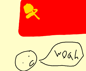 """face says """"woaw"""" to communist flag"""