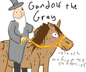 Gandolf rides on hairy horse