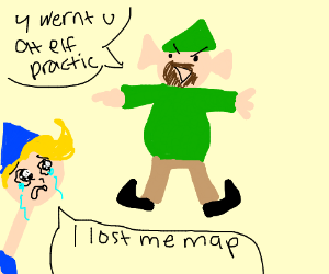 Naughty elf is angry about loss of map