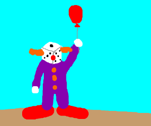 A clown dice wearing purple
