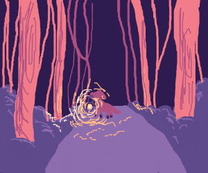 purple dog in forest at night with a light
