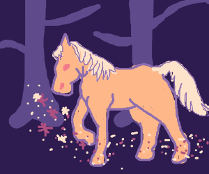 A pony using magic in the woods