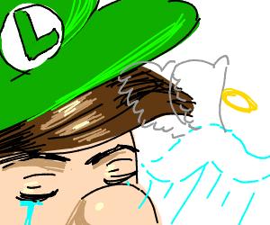 Luigi's mustache died. Its spirit flows away..