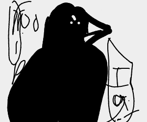 Black crow thinks about death and has evil intentions