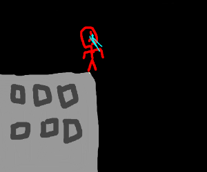 Crying guy jumps off building at night