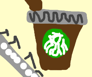 Train passes as people drink coffee