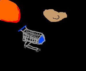 shopping cart in space