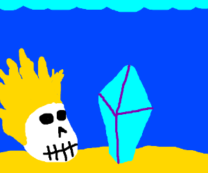 blue crystal and skull with blonde hair