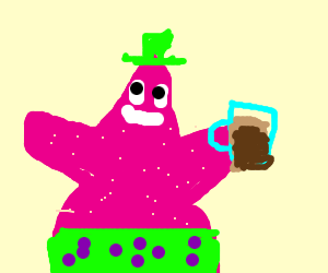 patrick star wearing green and drinking beer