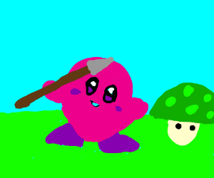 Kirby with spear !