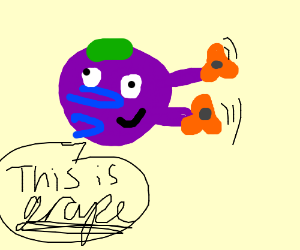Grape with 4 arms plays with fidget spinners