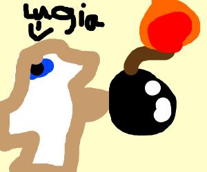 Tan lugia wielding a bomb