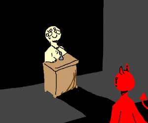 nervously making speech to devil
