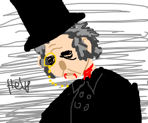 Scrooge's neck is bleeding