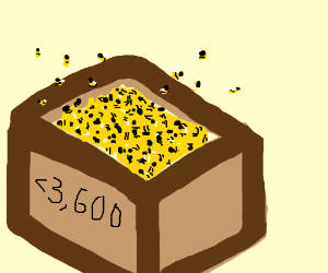 A box full of <3,600 bees