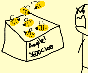 A box full of less than 3600 bees