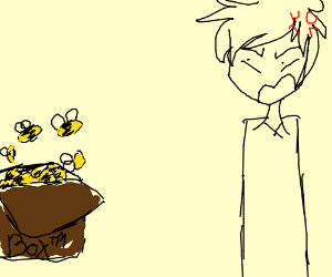 A is man mad at a box of bees