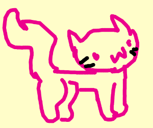 Happy cat with pink outline