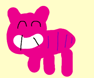 Pink cat with purple spots