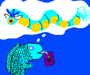 Fish drinks grapes juice thinking of evolution