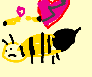 Sad bee, dumped by his girlfriend