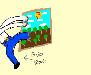 Bob Ross enters a painting