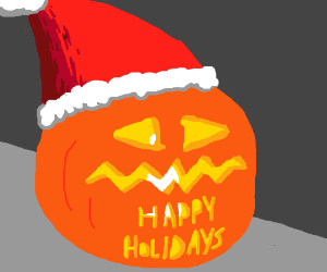 """Happy Holidays"" jackolantern w xmas hat"