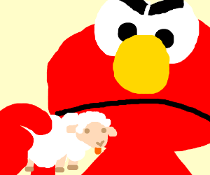 Giant Elmo is angry at cuuuuuute sheep