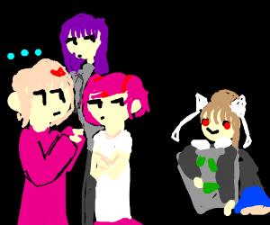 Sayori, Yuri an Natsuki plan to stop Monika!