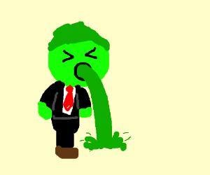 green guy in tux puke radioactive waste?(green