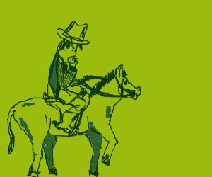 Cowboy eating an Apple