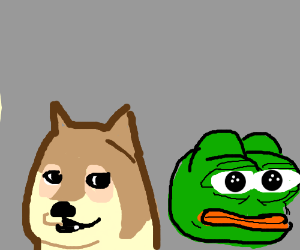 A Doge Next To Pepe The Frog Drawception