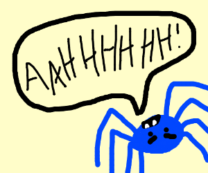 blue spider screams immensely