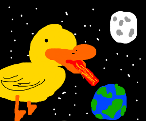 giant duck about to destroy the earth