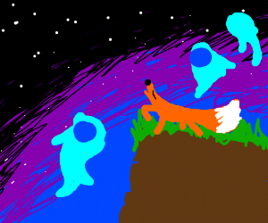 Fox howling with blue fire balls around him