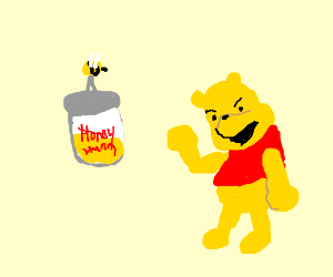 bee steals pooh's hunny