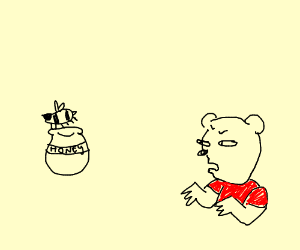 Bee takes Pooh bear's Honey, he is pissed.