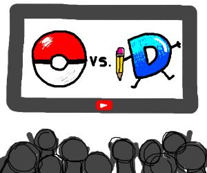 crowd watching Pokemon vs drawception on YT