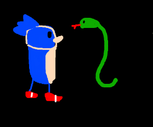 Sonic observes a snake