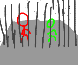 a red stickman & a little green one are inJail