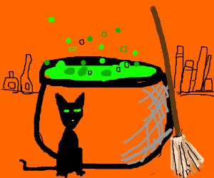 witch cat with a cauldron