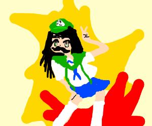 Luigi is an anime schoolgirl